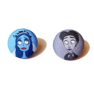 Corpse Bride Victor & Victoria Fabric Button Earrings