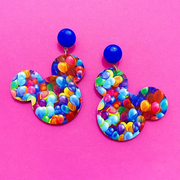 Up! Balloons Print Mouse Drop Earrings
