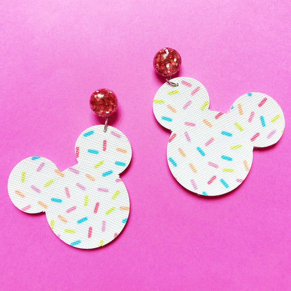 White Sprinkles Mouse Head Drop Earrings