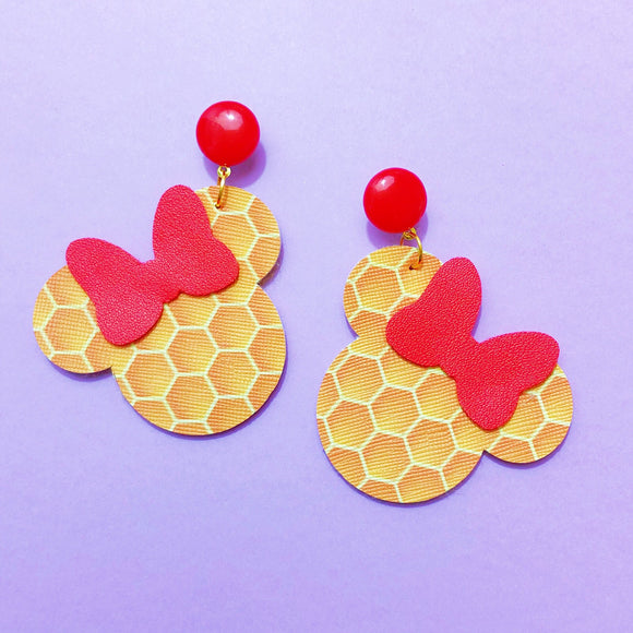 Honeycomb Print Winnie The Pooh Minnie Mouse Drop Earrings