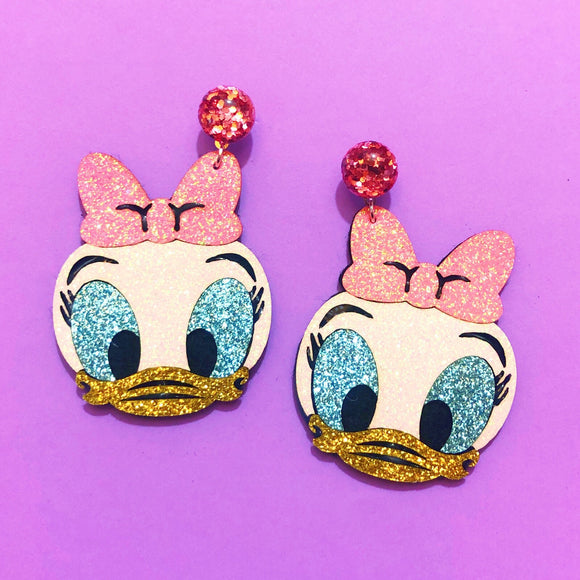 Daisy Duck Sparkle Chibi Drop Earrings