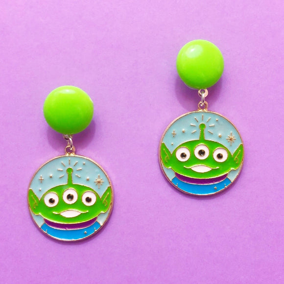 Round Alien Enamel Drop Earrings
