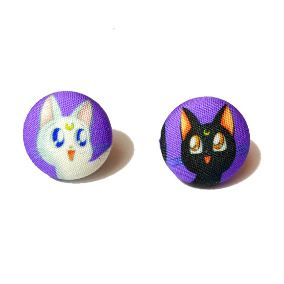 Luna & Artemis Sailor Moon Fabric Button Earrings