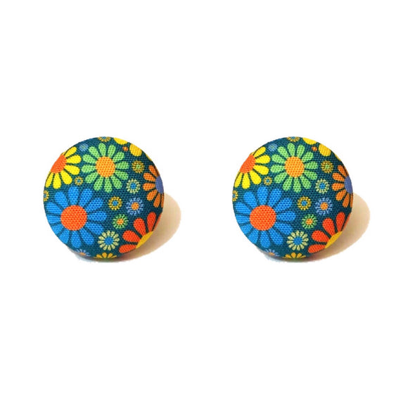 Navy Retro 1960s Flower Power Fabric Button Earrings