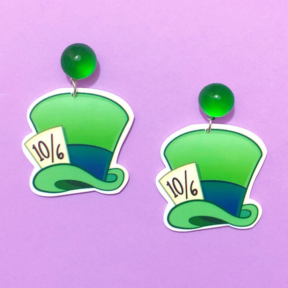 Mad Hatter Hat Alice in Wonderland Drop Earrings