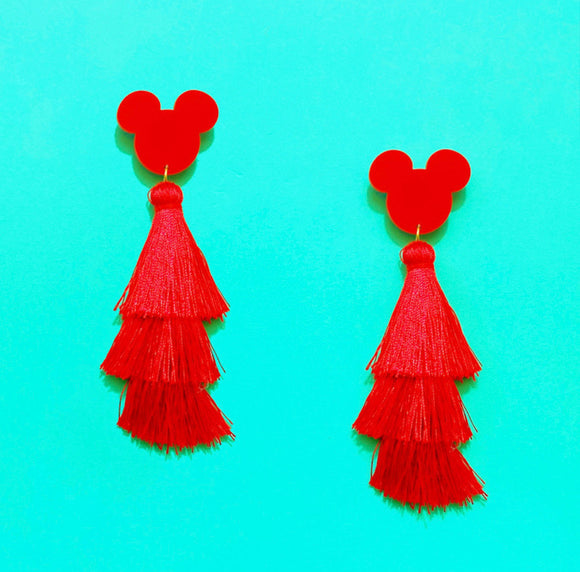 Red Mouse Triple Layer Tassel Drop Earrings