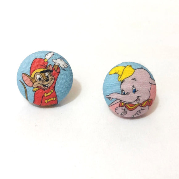 Dumbo & Timothy Fabric Button Earrings