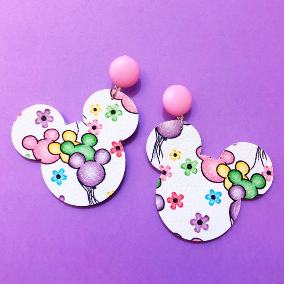 Pastel Balloons & Floral Print Mouse Drop Earrings