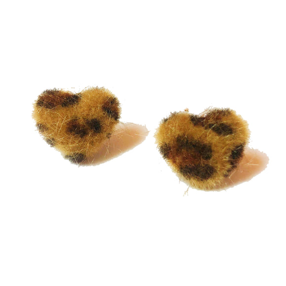 Leopard Print Fuzzy Heart Shaped Fabric Button Earrings