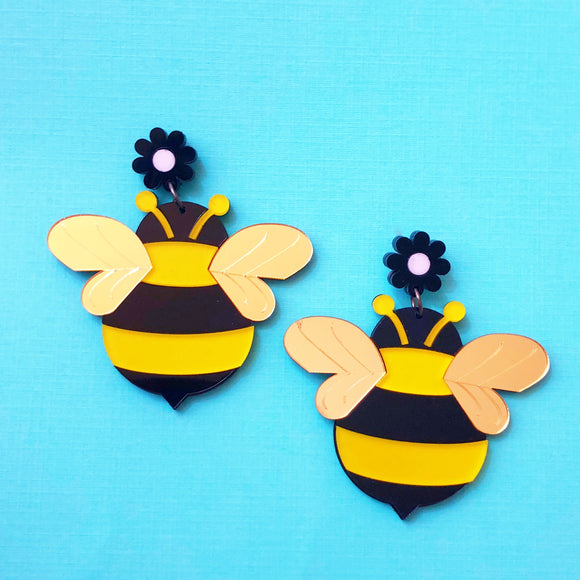 Honey Bee Acrylic Drop Earrings