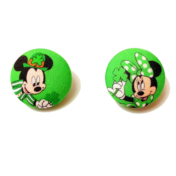 Minnie & Mickey St. Patrick's Day Inspired Fabric Button Earrings