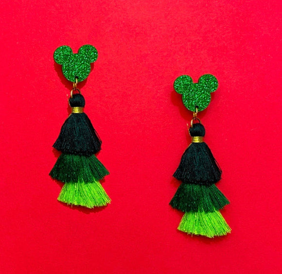 Green Gradient Mini Sparkle Mouse Triple Tier Tassel Drop Earrings