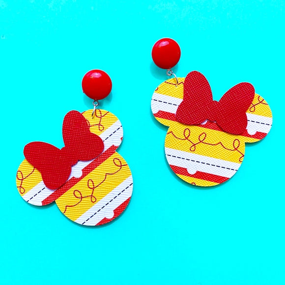 Jessie Cowgirl Print Toy Story Minnie Mouse Drop Earrings