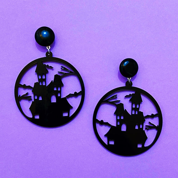 Black Haunted House Silhouette Round Acrylic Drop Earrings