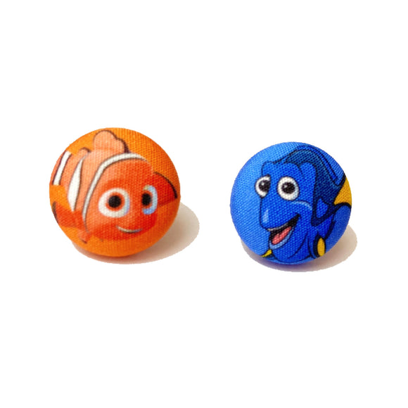 Nemo & Dory Fabric Button Earrings