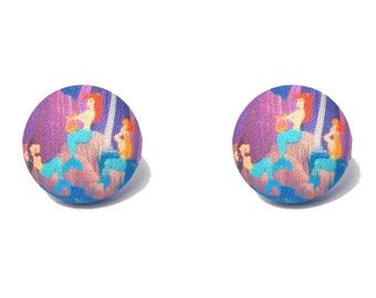 Mermaid Lagoon Peter Pan Inspired Fabric Button Earrings