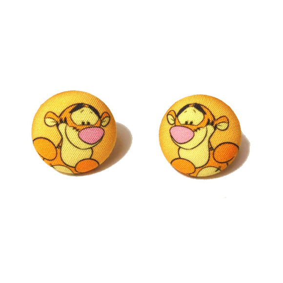 Tigger Winnie The Pooh Inspired Fabric Button Earrings