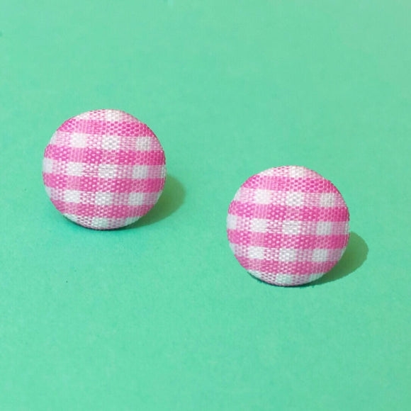 "Pastel Pink Gingham Print 5/8"" Fabric Button Earrings"
