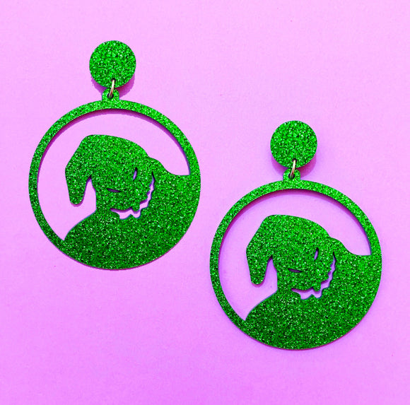 Round Oogie Boogie Sparkle Silhouette Acrylic Drop Earrings