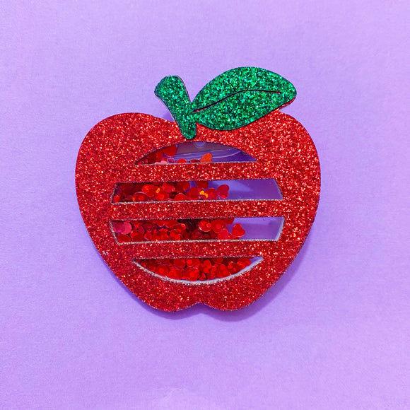Sparkle Apple Confetti Brooch Pin
