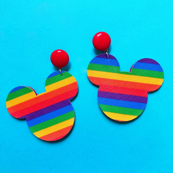 Mouse Head Rainbow Stripe Drop Earrings