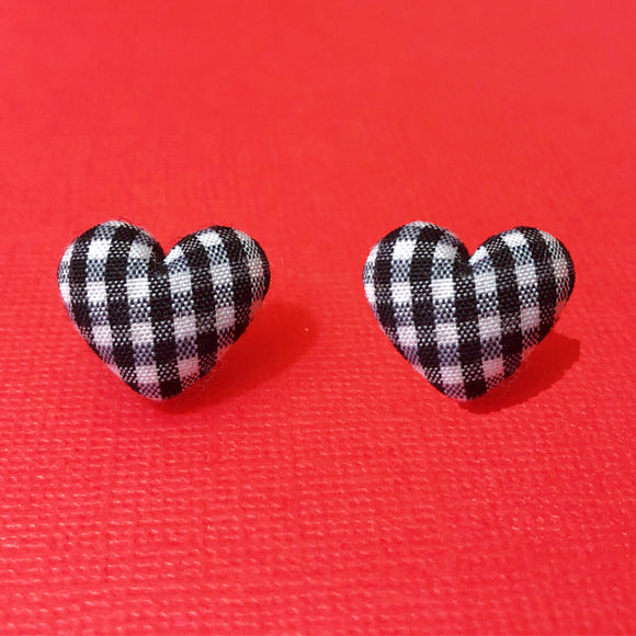 Black Gingham Heart Shaped Fabric Button Earrings