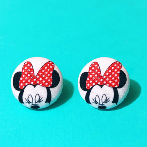 Rock The Dots Minnie Silhouette Fabric Button Earrings