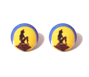 """Part Of Your World"" Ariel Little Mermaid Inspired Fabric Button Earrings"