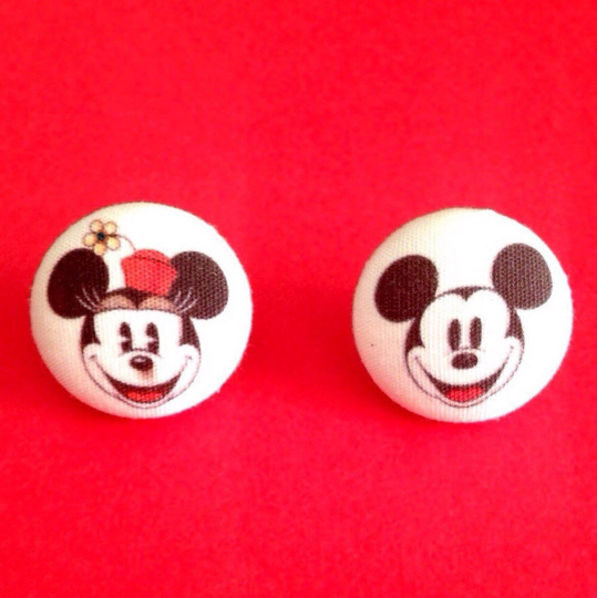 Vintage Mickey & Minnie Mouse Inspired Fabric Button Earrings