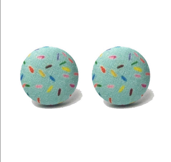 Sundae Sprinkles Mint Fabric Button Earrings