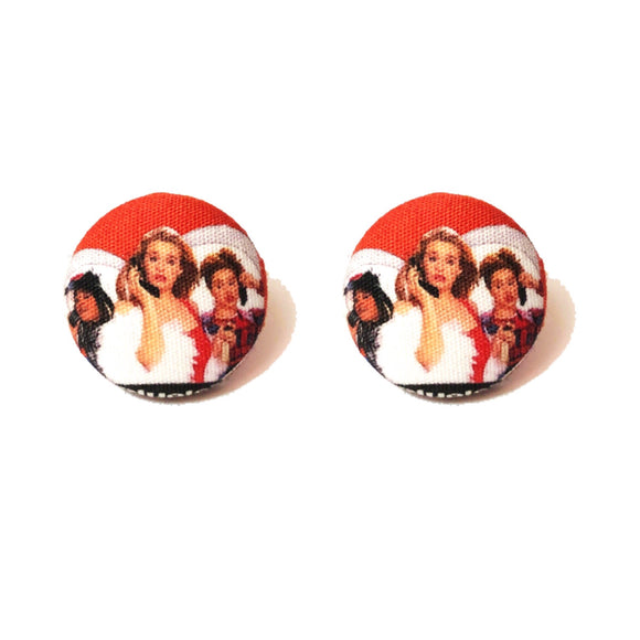 Clueless Inspired Fabric Button Earrings
