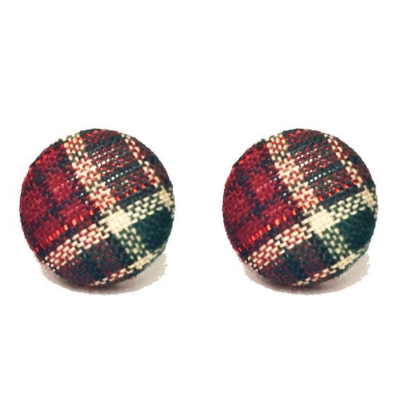 Holiday Plaid Green Multi Fabric Button Earrings