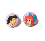 Kiss The Girl Fabric Button Earrings