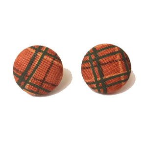 """Daphne"" Burnt Orange, Olive, & Yellow Print Autumn Fall Fabric Button Earrings"
