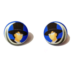 Tuxedo Mask Sailor Moon Fabric Button Earrings
