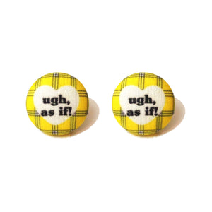 """As If"" Clueless Inspired Plaid Fabric Button Earrings"