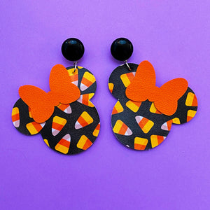 Black Candy Corn Print Minnie Mouse Drop Earrings