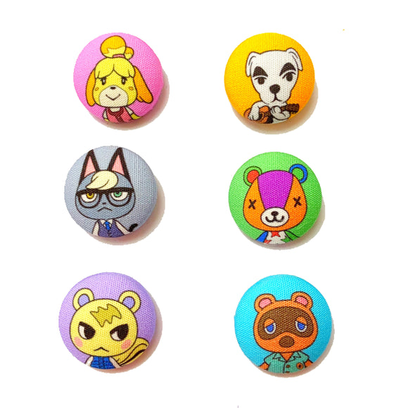 Animal Crossing Inspired Mix-and-Match Fabric Button Earrings