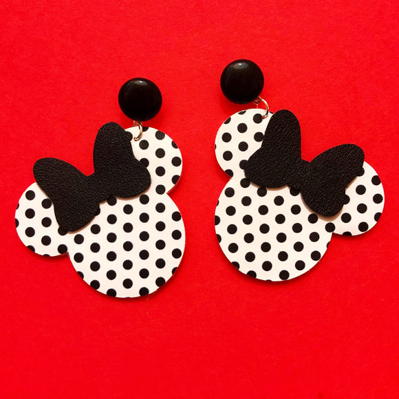 White & Black Polka Dot & Black Bow Minnie Mouse Drop Earrings