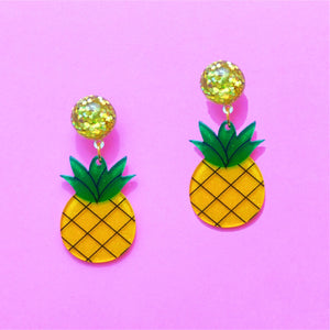 Pineapple Sparkle Small Acrylic Drop Earrings