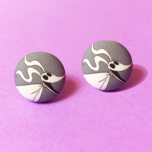 Zero The Ghost Dog Fabric Button Earrings