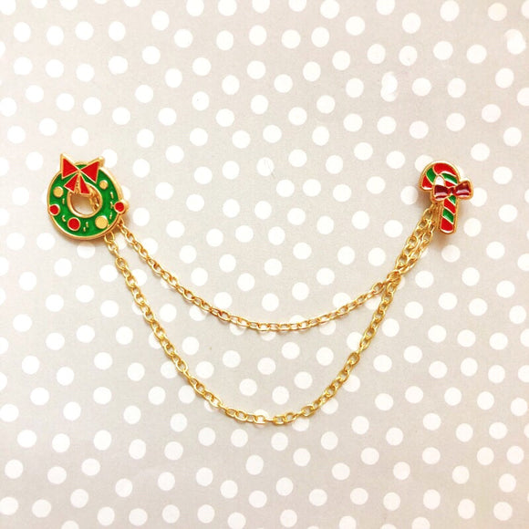Wreath & Candy Cane Collar Pins or Sweater Guards with Double Chain