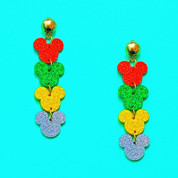Red, Green, Gold & Silver Glitter 4 Tier Mouse Drop Earrings