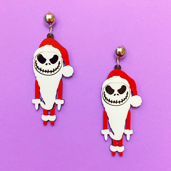 Santa Jack Skellington Acrylic Drop Earrings