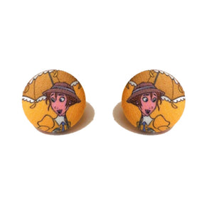 Jane Porter Tarzan Fabric Button Earrings