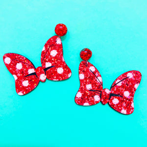 Large Sparkle Mouse Bow Drop Earrings