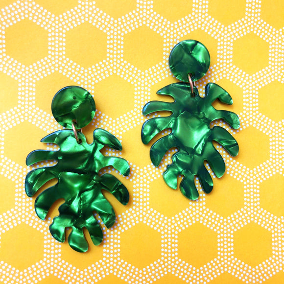 Green Monstera Leaf Drop Earring