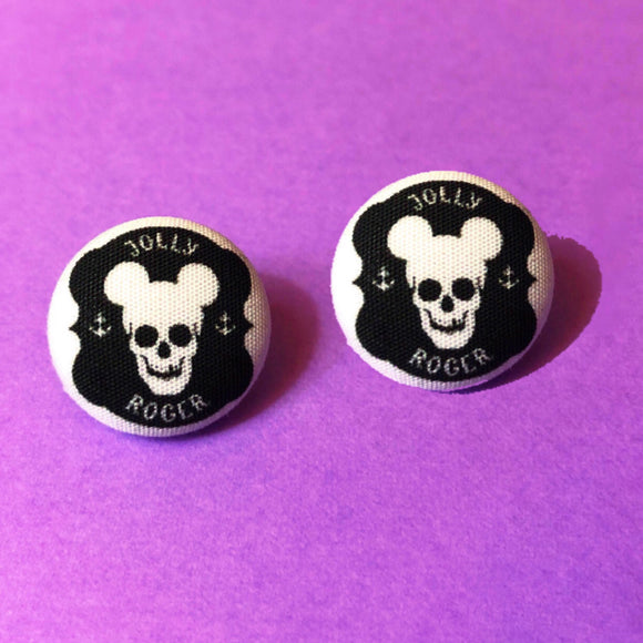 Jolly Roger Mouse Pirate Fabric Button Earrings