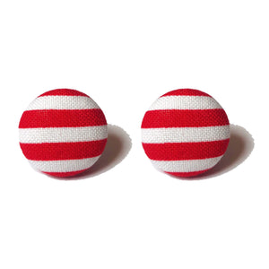 Red & White Striped Fabric Button Earrings