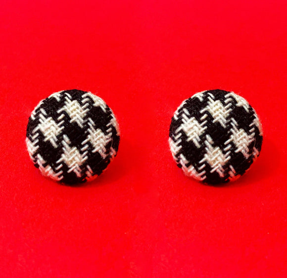 Houndstooth Round Fabric Button Earrings
